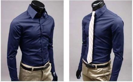 Camisa social slim fit em algodão. Gravata de brinde!
