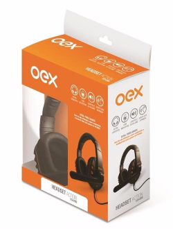 Oex Fone de Ouvido Gamer Headset Action com Microfone HS-200 Preto/Laranja
