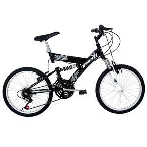 Bicicleta Full Suspension Kanguru Aço Aro 20 Polimet - Preto Preto