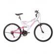 Bicicleta Aro 26 Houston Vivid com 21 Marchas e Suspensão Dianteira Branca / Rosa 6677584