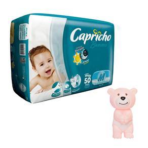 Fralda Capricho Bummis Mega M - 50 Unidades + Agarradinho Ursinho Rosa Bummis Capricho 1000062297