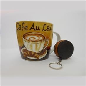 Caneca de Cerâmica Com Chaveiro Cafe au lait 037 - 6012ABC 6889163