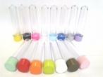 30 latinhas tamanho 5x1 + 30 tubetes 13cm tampa plástica coloridas