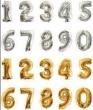 Baloes de Numeros Grandes A Pronta Entrega Dourado e Prata