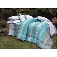 Kit Cobre - leito Casal Vida Bela Oasis 200 Fios com 2 Porta - Travesseiros - Kacyumara azul turquesa