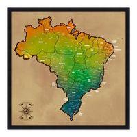 Quadro Mapa Brasil Pinar Viagens 60x60cm Envelhecido - Moldura Preta