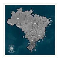 Quadro Mapa Brasil Pinar Viagens 60x60cm Marinho - Moldura Branca