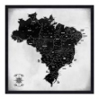 Quadro Mapa Brasil Pinar Viagens 60x60cm P&B - Moldura Preta