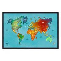 Quadro Mapa - Múndi Pinar Viagens 100x65cm Azul - Moldura Preta
