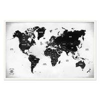 Quadro Mapa - Múndi Pinar Viagens 100x65cm P&B - Moldura Branca