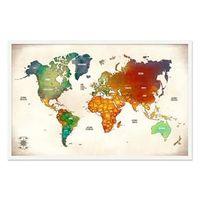 Quadro Mapa - Múndi Pinar Viagens 100x65cm Vintage - Moldura Branca