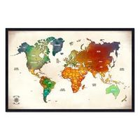 Quadro Mapa - Múndi Pinar Viagens 100x65cm Vintage - Moldura Preta