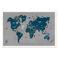 Quadro Mapa - Múndi Pinar Viagens 60x40cm Cinza - Moldura Branca