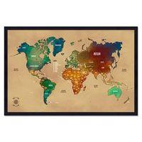 Quadro Mapa - Múndi Pinar Viagens 60x40cm Envelhecido - Moldura Preta