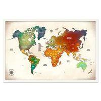 Quadro Mapa - Múndi Pinar Viagens 60x40cm Vintage - Moldura Branca