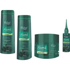 Kit antiqueda Shampoo 300 ml + Condicionador 300 ml + Máscara 350 g+ Fortalecedor 60 ml Alumã e Extratos Vegetais