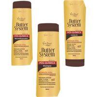 Kit Butter System Verde Brasil Cosméticos Pós Química Manteigas e Aminoácidos Shampoo 300 ml, Condicionador 300 ml e Finalizador