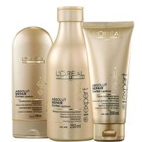 Kit L`Oréal Professionnel Absolut Repair Cortex Lipdium - Shampoo 250ml + Condicionador 150ml + Creme de Pentear 200ml