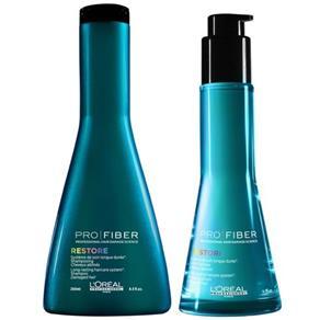 Loreal Pro Fiber Restore Shampoo ( 250ml ) e Leave - in ( 75ml )