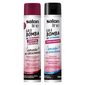 Salon Line Kit SOS Bomba de Vitaminas Shampoo Liberado e Condicionador - 2x300ml