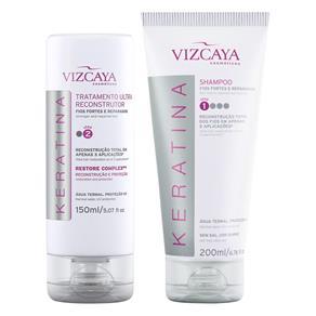 Kit Vizcaya Keratina Shampoo 200ml + Tratamento Ultra Reconstrutor 150ml