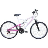 Bicicleta Aro 26 Full Fa 240 Suspension 18 Marchas Branco / Rosa - Mormaii