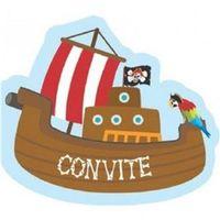 Convites de Aniversário Infantil Tema Barco de Pirata - 8 unidades