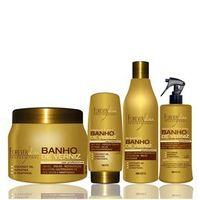 Forever Liss Kit Banho de Verniz Shampoo, Leave in, Queratina e Máscara
