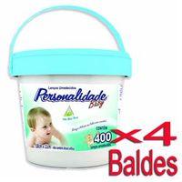 Lenço Umedecido Personalidade Balde Azul 400 Unidades - 4 Baldes
