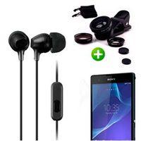 Fone De Ouvido Com Microfone Preto + Kit Lentes Olho De Peixe Para Sony T2