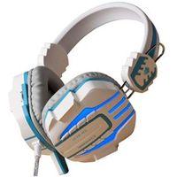 Fone Headsets - ouvido com fio de fone de ouvido de jogos luminoso azul e branco