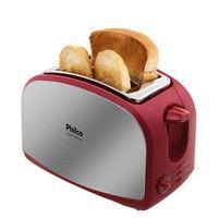 Torradeira French Toast Inox Philco com 8 Opções de Tostagem - Aço Escovado / Vermelha 110V