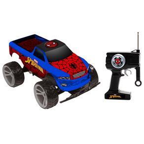 Carro de Controle Remoto Candide Tracker Truck Marvel Homem Aranha com 7 Funções - Azul / Vermelho