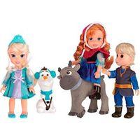 Conjunto Bonecas Frozen Sunny Anna Elsa Kristoff Olaf e Sven 5 Peças