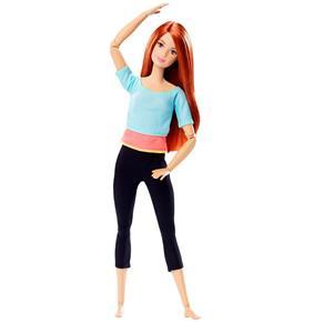 Boneca Barbie Articulada - Feita para Mexer - Blusa Azul e Rosa - Mattel