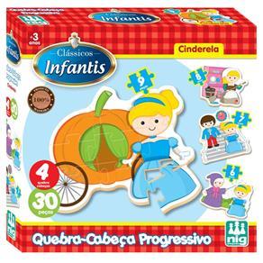 Quebra Cabeça Clássicos Infantis - Cinderela 30 Peças em Madeira - Nig 43001