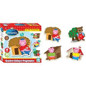 Quebra Cabeça Clássicos Infantis - Os Três Porquinhos 30 Peças em Madeira - Nig 43201