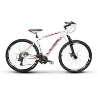 Bicicleta Alfameq Zahav Aro 29 Freio a Disco 24 Marchas Quadro 17 - Branco com Vermelho