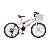 Bicicleta Aro 20 Feminina Serena Plus Com Marchas Rosa Com Branco Master Bike