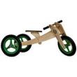 Bicicleta Em Madeira Infantil Woodbike Camará 3 Tamanhos Em 1 - Verde