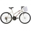 Bicicleta Feminina Parati com Cesta Aro 24 Branco Track Bikes