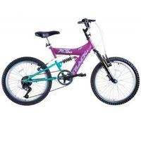 Bicicleta Feminina XS 20 Dupla Suspensão MTB Magenta / Azul Track Bikes