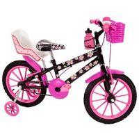 Bicicleta Infantil Aro 16 Sport Bike Flowers Black Com Cadeirinha de Boneca