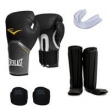 KIT MUAY THAI LUVA EVERLAST PRETO 12OZ CANELEIRA BANDAGEM BUCAL