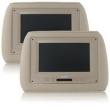 Par Encosto De Cabeça Com Tela de DVD 7 ? LCD Embutida - Modelo Universal com Kit completo Cor Bege