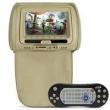 Tela Encosto Cabeça 7 Polegadas Bege DVD USB SD Fone Game Zíper e Controle
