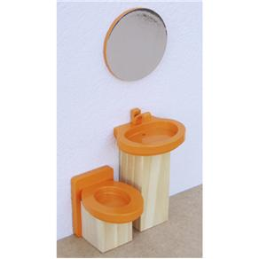 Mini Kit Banheiro Laranja De Madeira - New Art