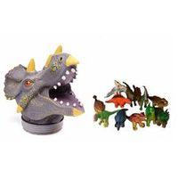 Cabeça Flex com Miniaturas - Dinossauro Triceraptor ( cinza ) - Dtc