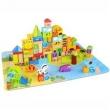 Conjunto Quebra Cabeça e Blocos de Madeira p / Construção - 135 peças - Tooky Toy