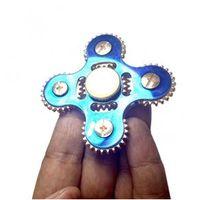 Hand Spinner Fidget De Metal Com Engrenagens Ansiedade Estresse Azul